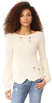 Pam & Gela Women's Shredded Wavy Sweep Sweater