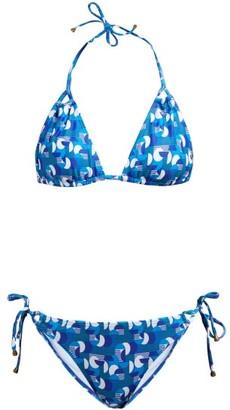 Thorsun Alex Geometric-print Triangle Bikini - Blue Multi