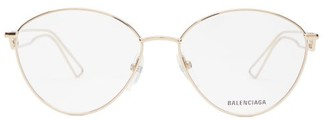 Balenciaga Round Metal Glasses - Womens - Brown