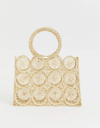Kaanas woven raffia circle handle detail clutch bag in natural-Beige