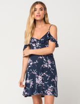 Full Tilt Floral Knit Cold Shoulder Dress