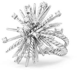 David Yurman Supernova Mixed-Cut Diamond Spray Ring in 18K White Gold, Size 7
