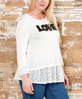 Celeste Black & White 'LOVE' Ruffle-Lace Tunic - Plus