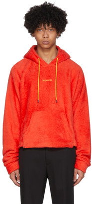 Pyer Moss Red Sherpa Cropped Hoodie