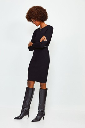 Karen Millen Knitted Rib Dress With Skinny Belt