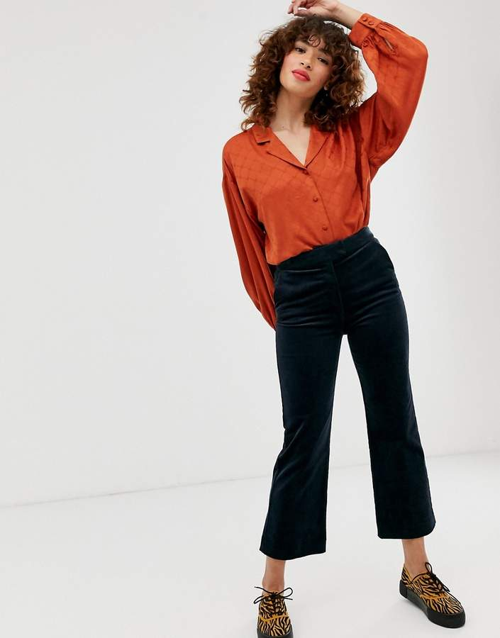 Monki flared cord pants in navy
