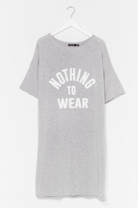 Nasty Gal Womens Nothing to Wear Plus Graphic Tee Dress - Grey - 22, Grey