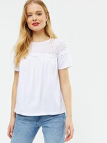 Thumbnail for your product : New Look Broderie Yoke Tee - White