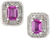 Effy Final Call Pink Sapphire (1-1/8 ct. t.w.) and Diamond (1/4 ct. t.w.) Stud Earrings in 14k White Gold