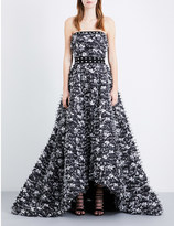Prabal Gurung Strapless embellished fil-coupé gown