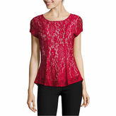 BY AND BY by&by Short Sleeve Scoop Neck Lace Blouse-Juniors