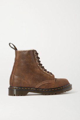 Dr. Martens 1460 Pascal Shearling-lined Textured-leather Ankle Boots - Tan