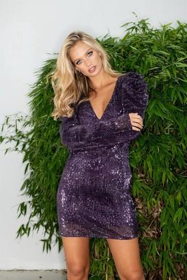 Liena LIENA Purple Sequin Puff Sleeve Mini Dress