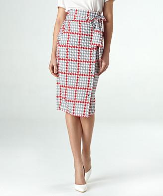 Colett Women's Career Skirts pepito - Gray & Red Houndstooth High-Waist Pencil Skirt - Women