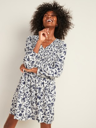Old Navy Floral-Print Smocked-Bodice Fit & Flare Dress for Women