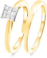 My Trio Rings 1/3 CT. T.W. Diamond Women's Bridal Wedding Ring Set 14K Yellow Gold