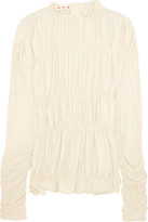 Marni Ruched Crepe De Chine Top - Cream