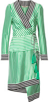 Etro Asymmetric Striped Silk Wrap Dress - Green