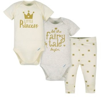 Gerber Baby Girl Onesies Bodysuits and Pant Set, 3pc