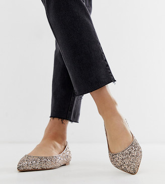 Asos Design DESIGN Latch pointed ballet flats in glitter