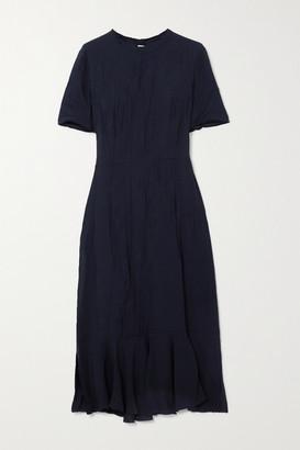 Marni Crinkled-cady Midi Dress - Navy