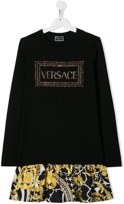 Versace TEEN rhinestone logo dress