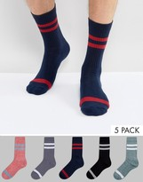 Asos Tube Style Socks In Twisted Yarn 5 Pack