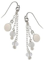 Earth Sterling Chain Tassel Earrings with Pink Rose Quartz Beads, Silver
