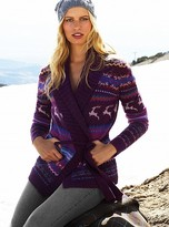 Fair isle belted cardigan sweater