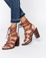 Lost Ink Roman Ghillie Lace Up Heeled Sandals