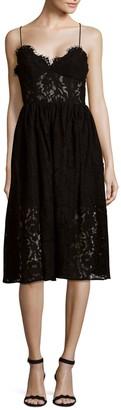 Fame & Partners Mesh Lace Knee-Length Dress