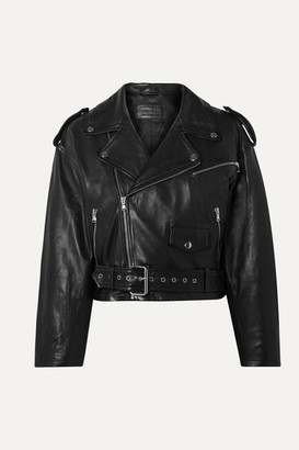 Sprwmn Cropped Leather Biker Jacket - Black