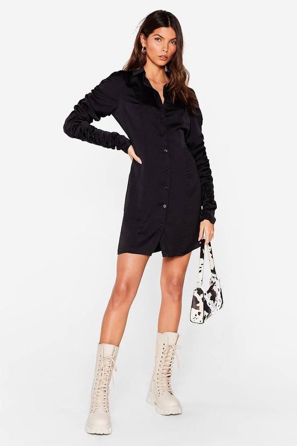 Nasty Gal Womens Ruched Sleeve Satin Shirt Dress - Black - 8