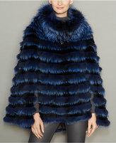 The Fur Vault Rabbit-Fur-Trim Fox Fur Poncho