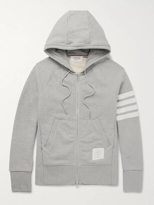 Thom Browne Striped Loopback Cotton-Jersey Zip-Up Hoodie