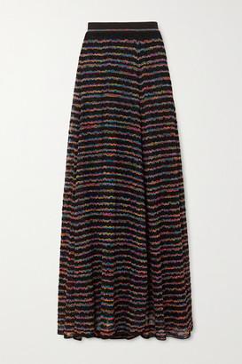 Missoni Metallic Striped Crochet-knit Maxi Skirt - Black