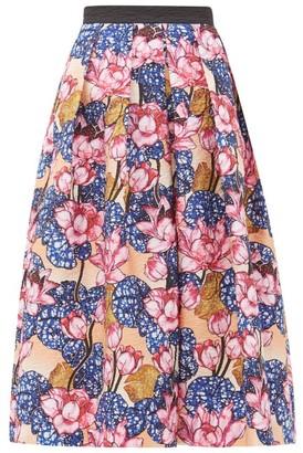 Mary Katrantzou Crystal Rose-print Crepe Midi Skirt - Pink Multi