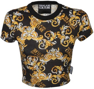 Versace Jeans Couture Printed Cotton Crop Top