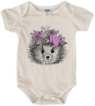 Urban Smalls Girls' Infant Bodysuits Cream - Cream Hedgehog Floral Crown Bodysuit - Newborn & Infant