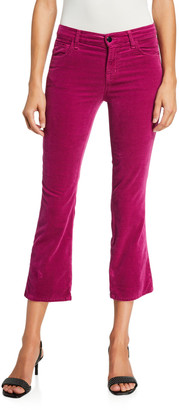 J Brand Selena Mid-Rise Velvet Crop Pants
