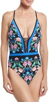 Nanette Lepore Damask Floral Goddess One-Piece Swimsuit, Multicolor