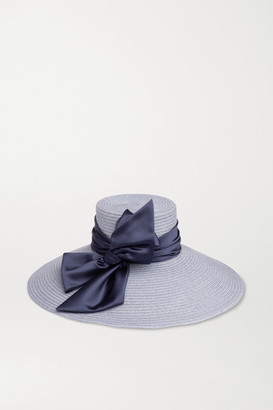 Eugenia Kim Mirabel Satin-trimmed Straw Hat - Blue