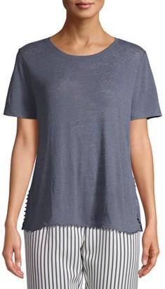Time and Tru Women's Short Sleeve Pom Pom T-Shirt