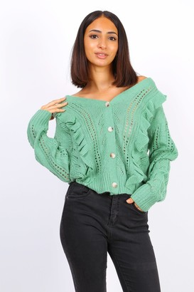 Lilura London Button Front Ruffle Knit Cardigan In Sage Green