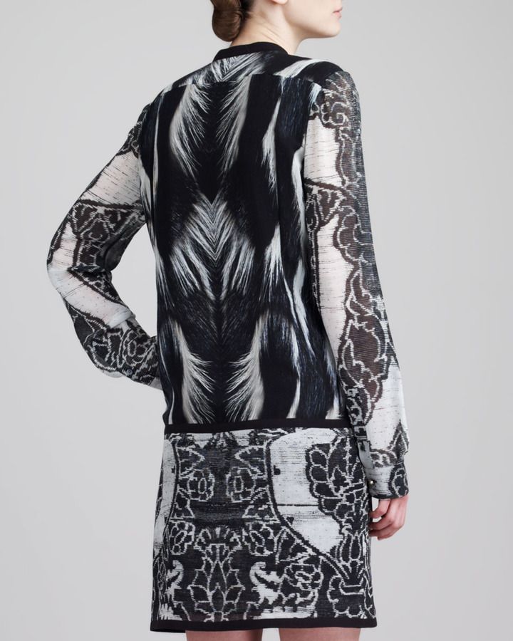 Roberto Cavalli Lace-Print Drop-Waist Dress, Black/White