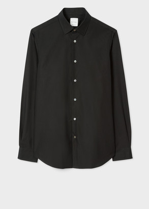 Paul Smith Men's Tailored-Fit Black Cotton 'Artist Stripe' Cuff Shirt