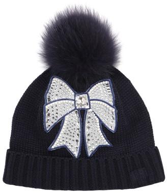 MonnaLisa Wool Blend Tricot Hat W/ Faux Fur Pompom
