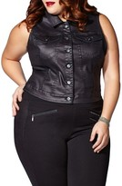 Plus Size Women's Mblm By Tess Holliday Coated Denim Vest