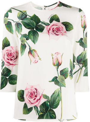 Dolce & Gabbana tropical rose print T-shirt