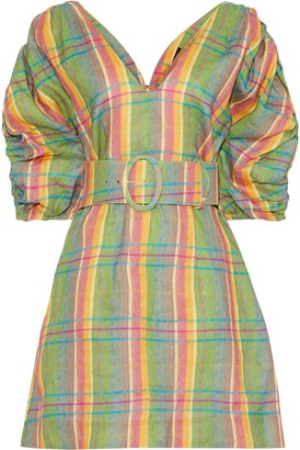 Nicholas Belted Gathered Checked Linen Mini Dress